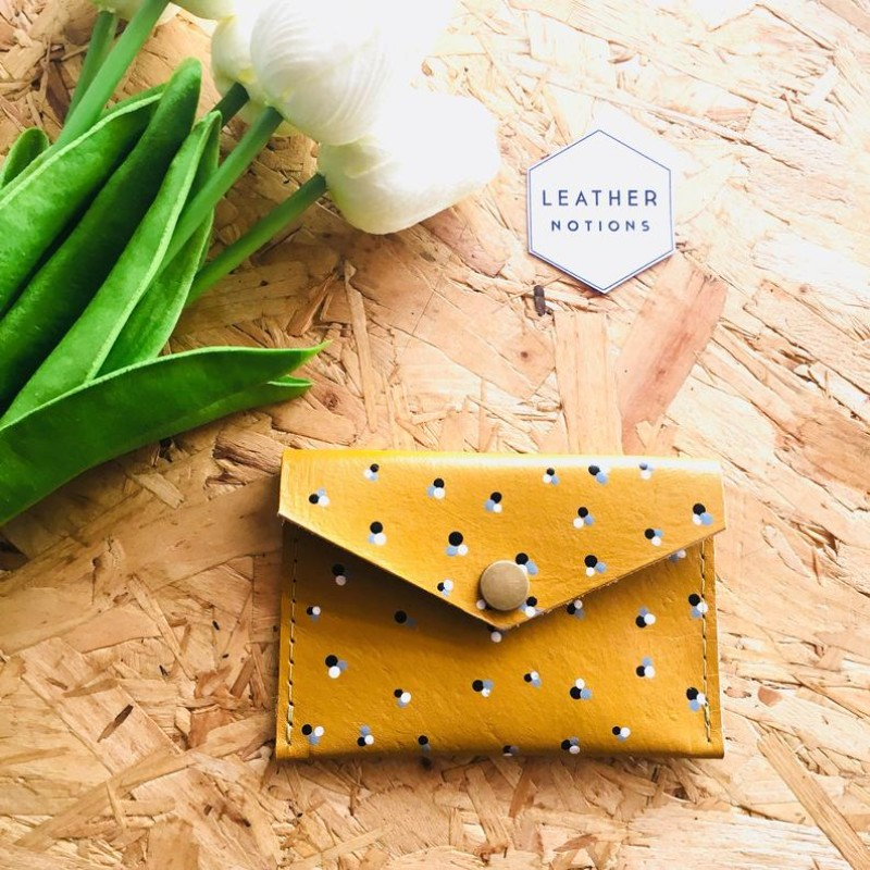 Small Leather Coin Purse (Mustard/Polka Dot) by Leather Notions