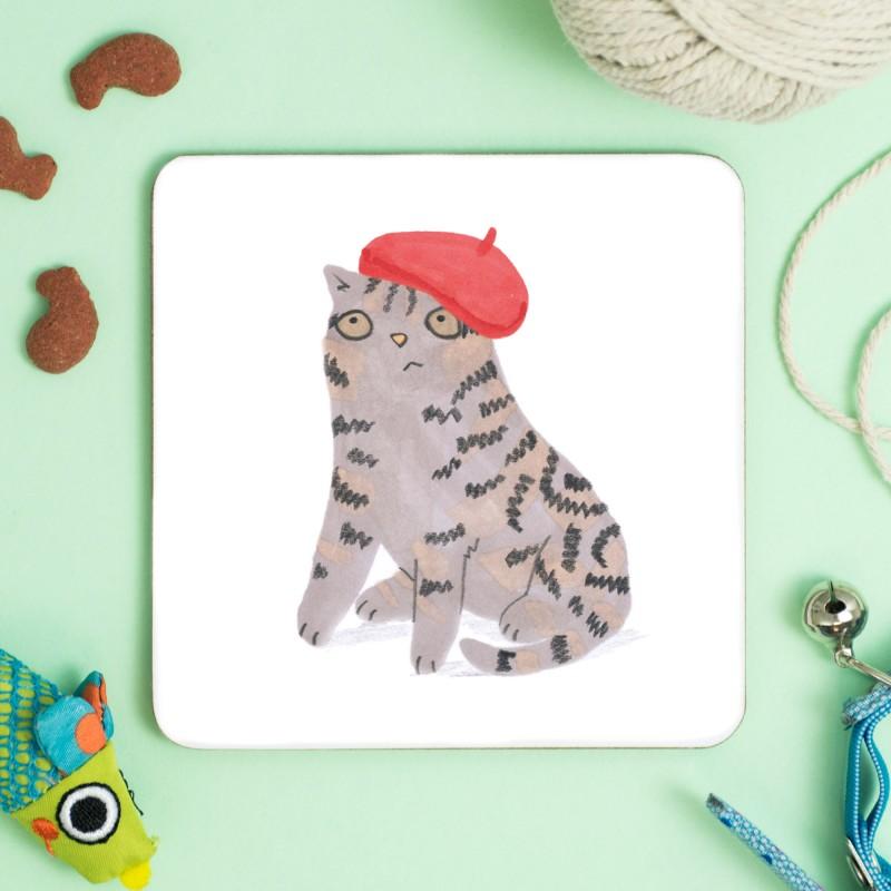 Cat In Beret Coaster by Jo Clark