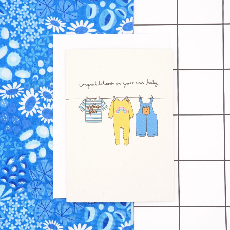 New Baby Card (Blue/Yellow) by Harriet Emily