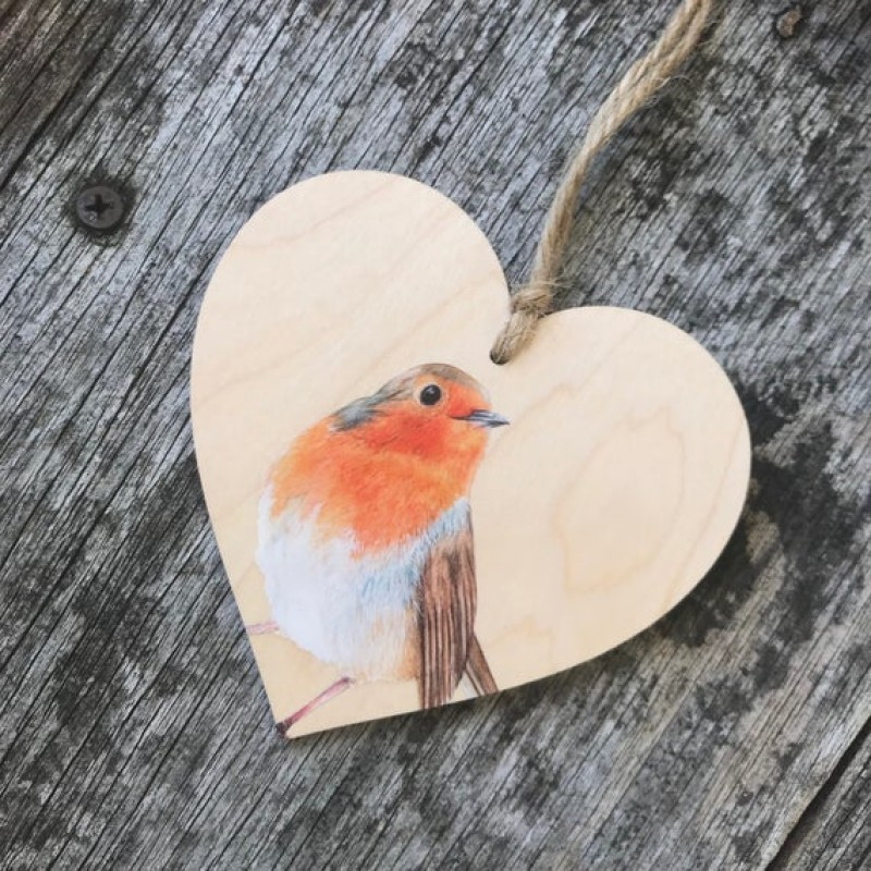 Robin Wooden Hanging decoration By Miss Meaney's
