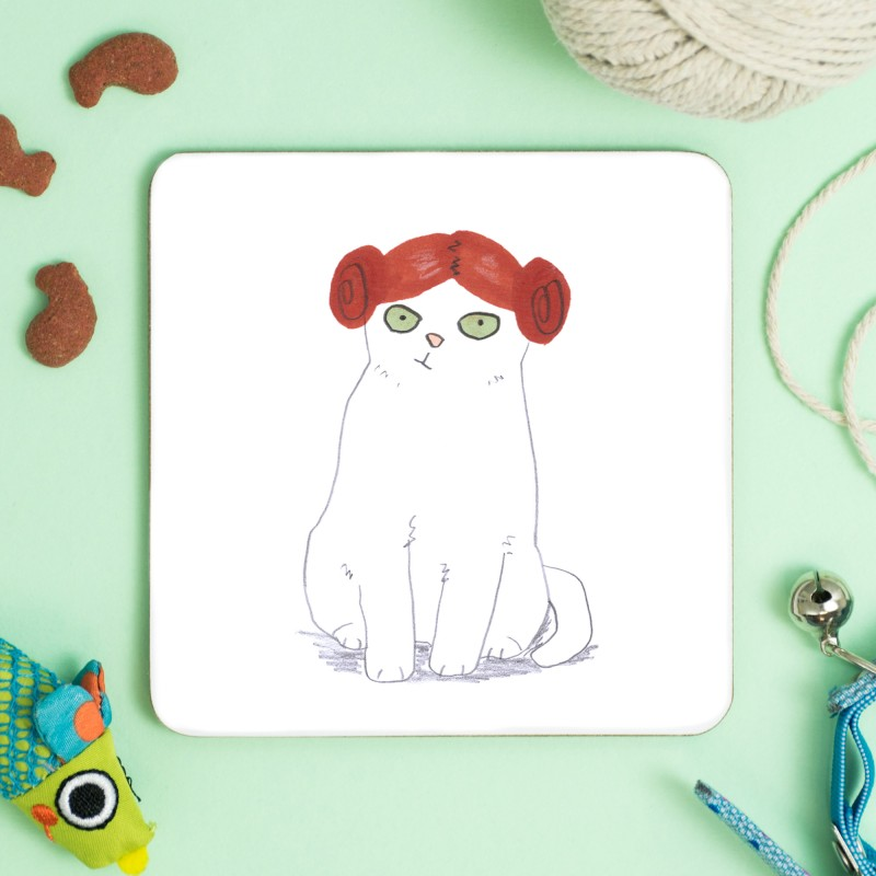 Cat In Purrincess Leia Wig Coaster by Jo Clark