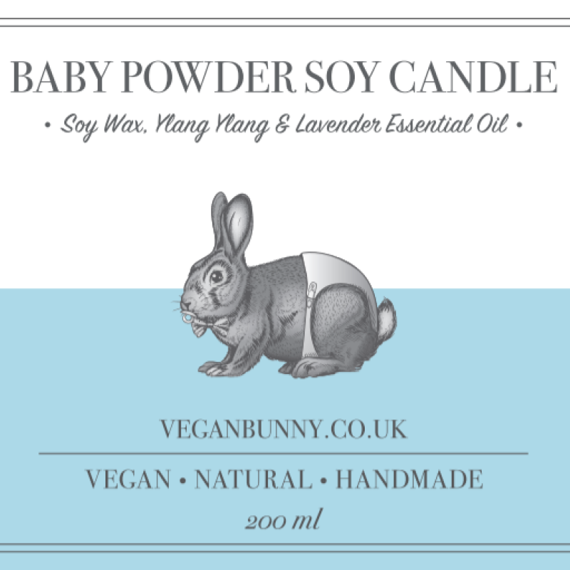 Baby Powder Soy Candle by Vegan Bunny