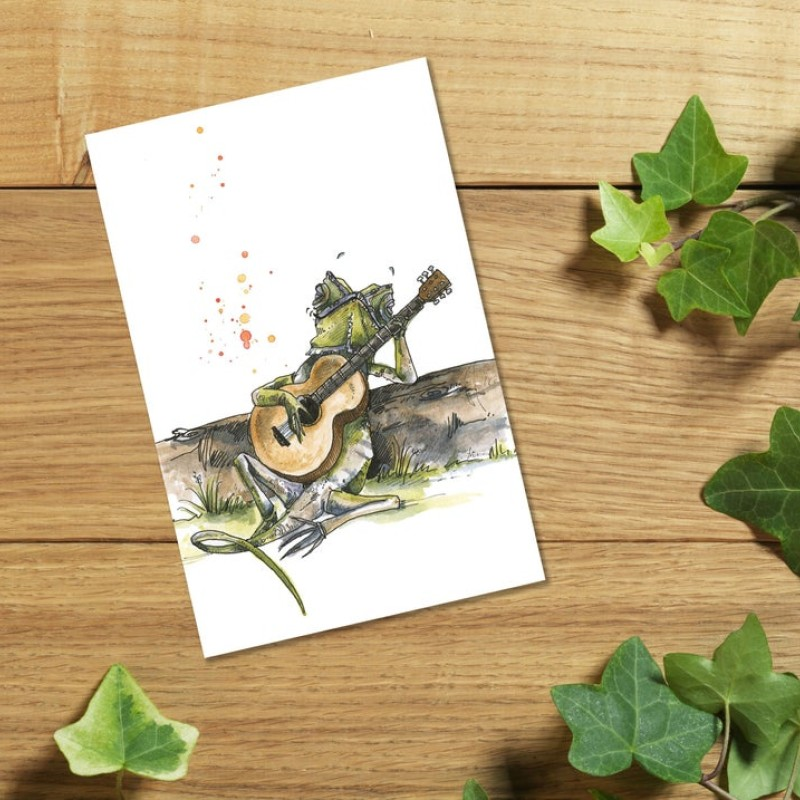 Lizard Guitarist Card by Snowtap