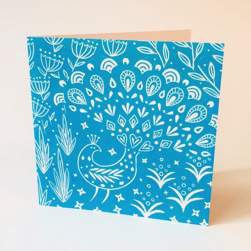 Pearce Peacock (Teal) Card by Mabel Fox