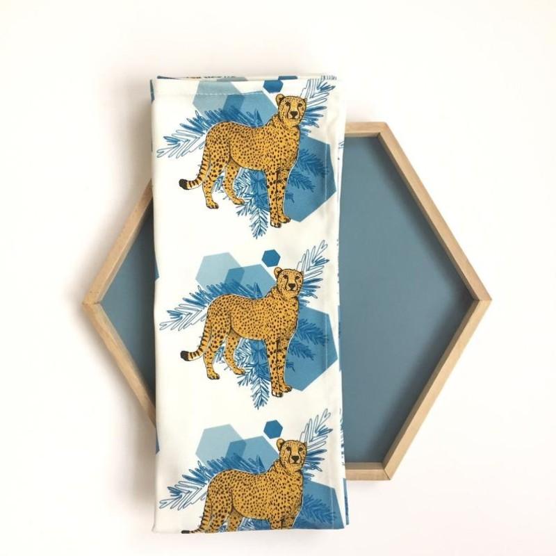 Cheetah Fierce Tea Towel (white) by OhHelloShan