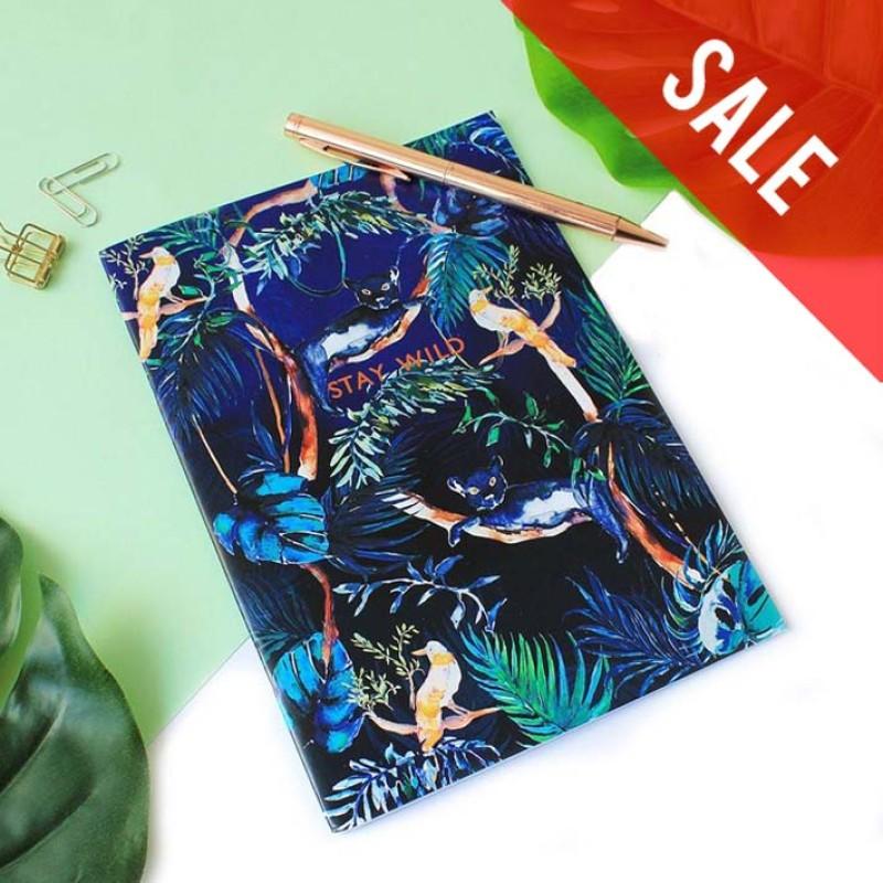 SALE 'Stay Wild' Metallic Copper Foil/Nocturnal Jungle A5 Notebook by Nikki Strange