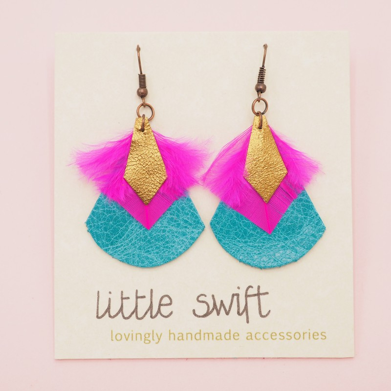 Feather & Recycled Leather Earrings by Little Swift (093)