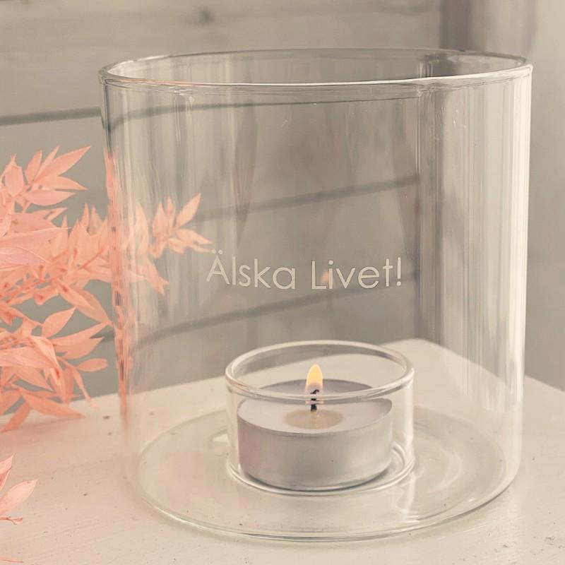"""Majas Cottage glaslykta """"Älska Livet!"""""""