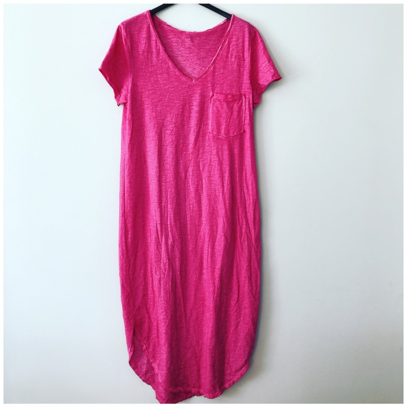 T-shirt klänning cerise