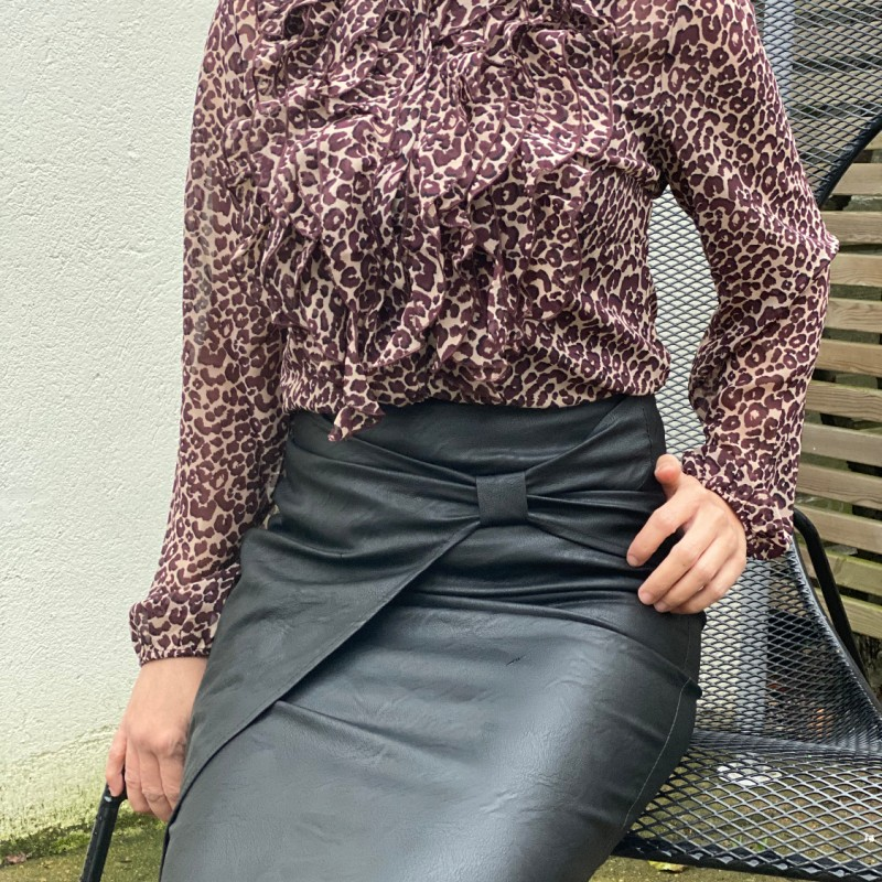 Stajl Agenturer, kjol skinnimmitation svart
