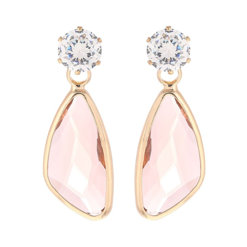 Örhängen med rosa sten