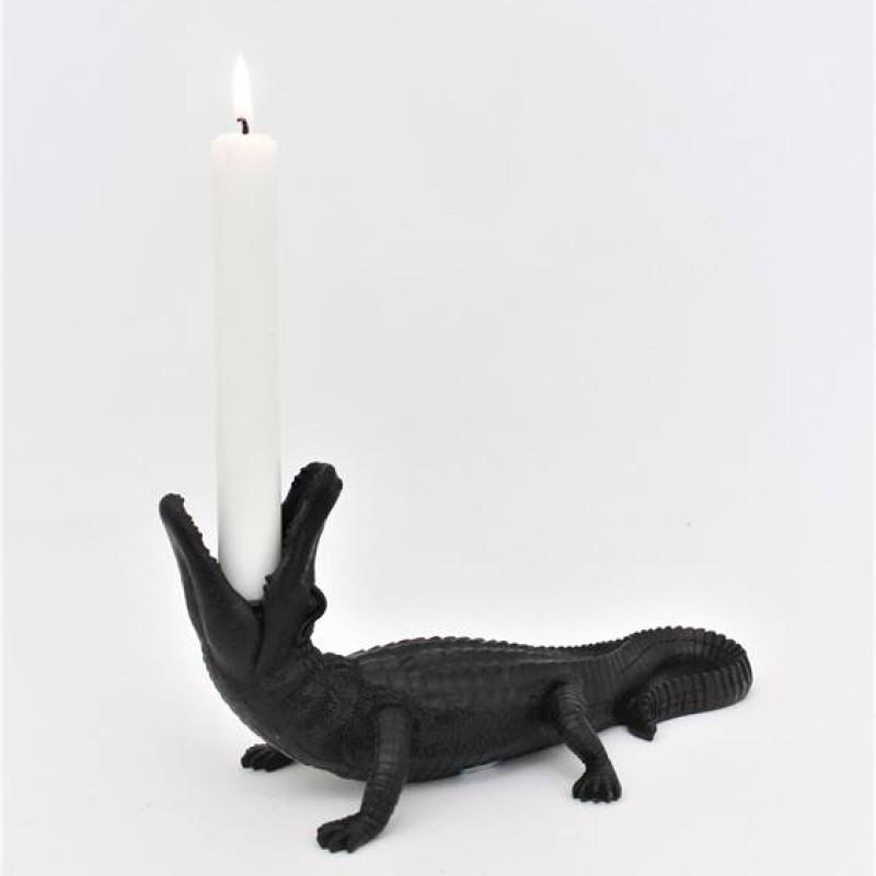 Ljusstake krokodil- Svart