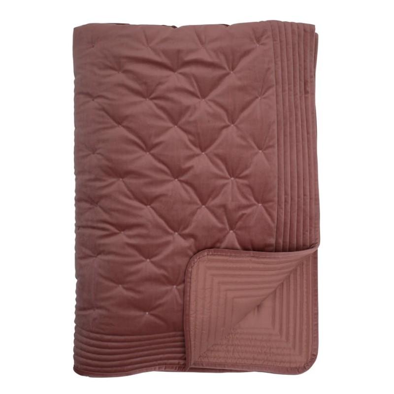 Överkast rosa sammet 180 cm