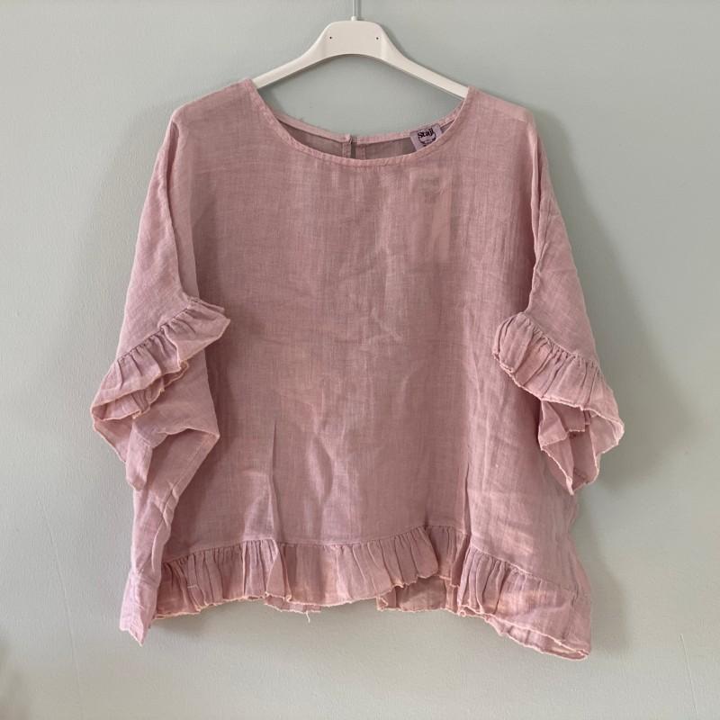 Blus med volang rosa - Stajl