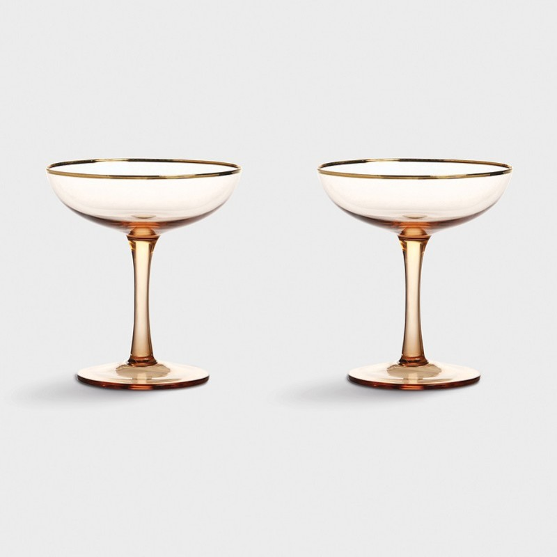 Champagneglas rosa/guld 2-pack