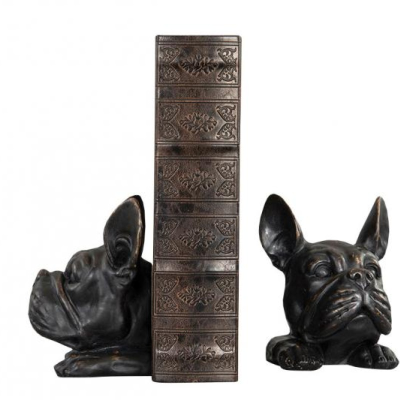 Bokstöd bulldog svart
