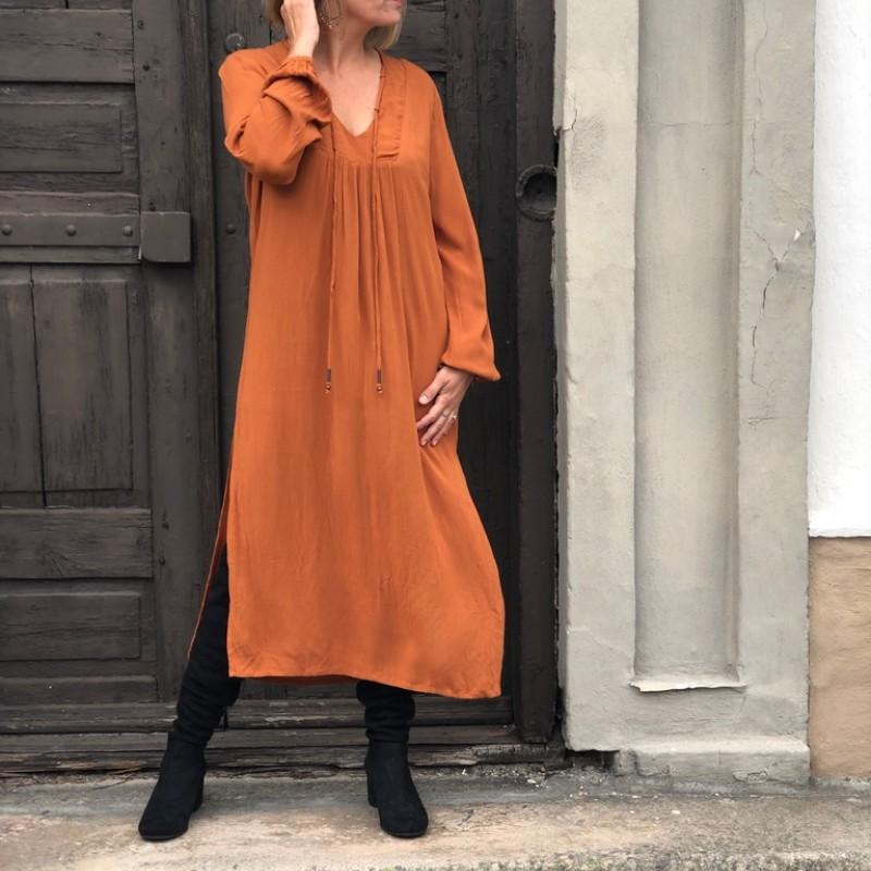 13-0920 Marley Maxikjole Brun/Orange