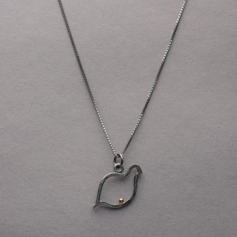 RIPA hänge i oxiderat silver o 18 K rg