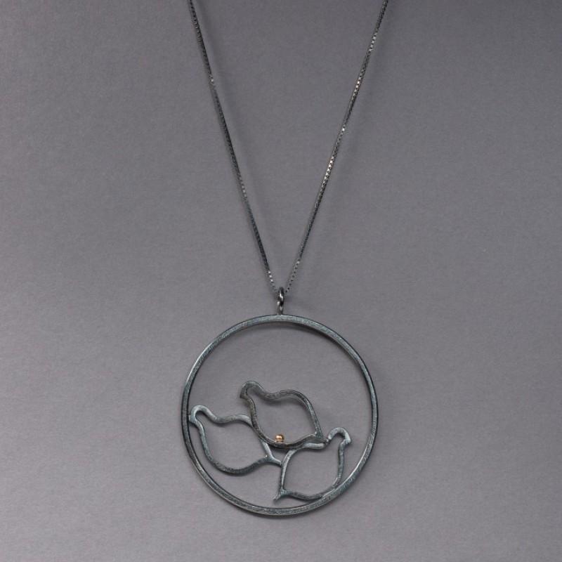 RIPA, flock, hänge oxiderat silver o 18 K rg