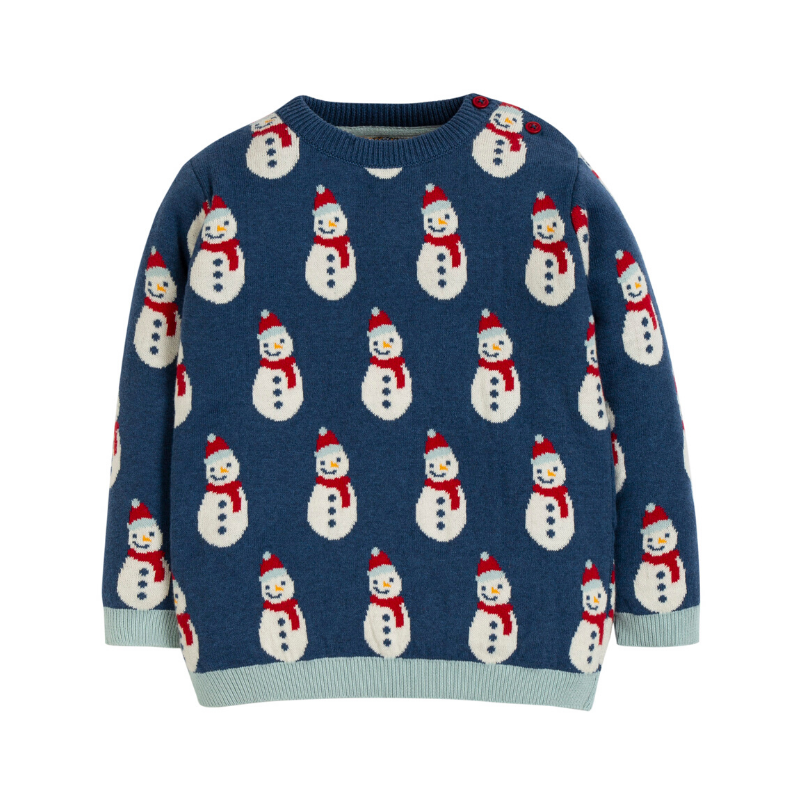 Frugi Jolly Knitted Jumper - Space Blue/Snowmen