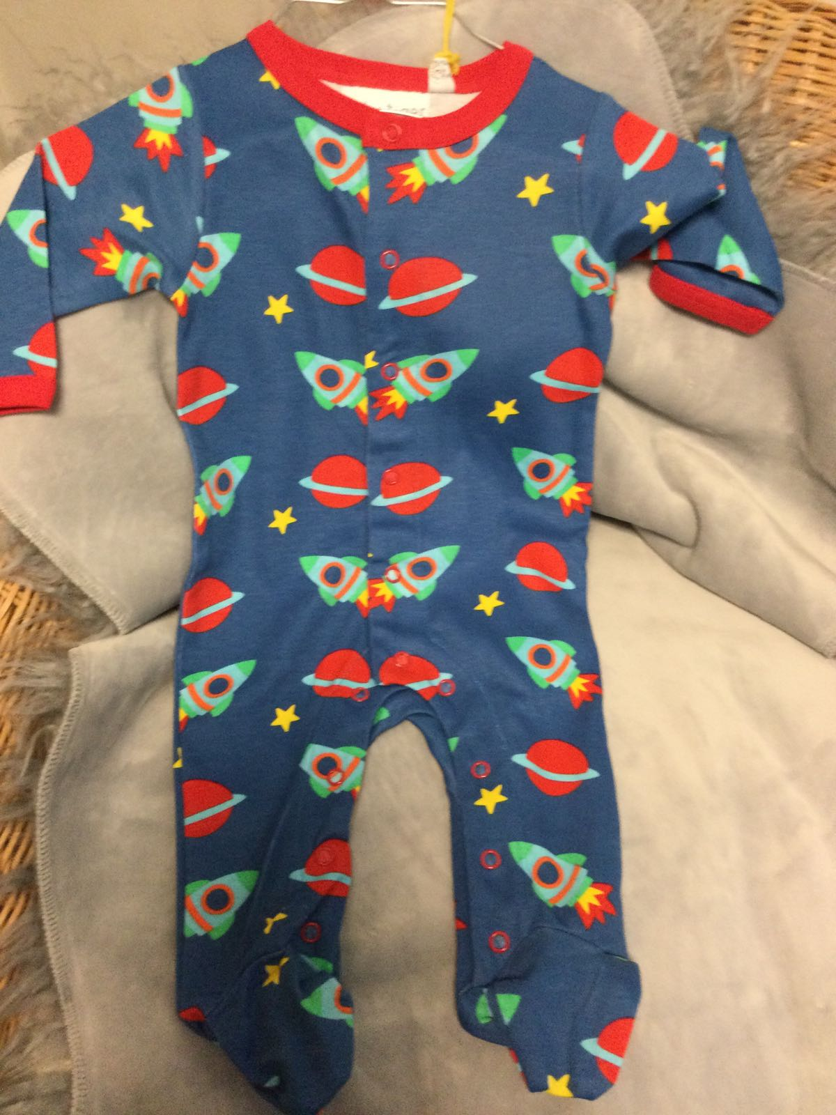 Toby Tiger - sleep suit with feet - space
