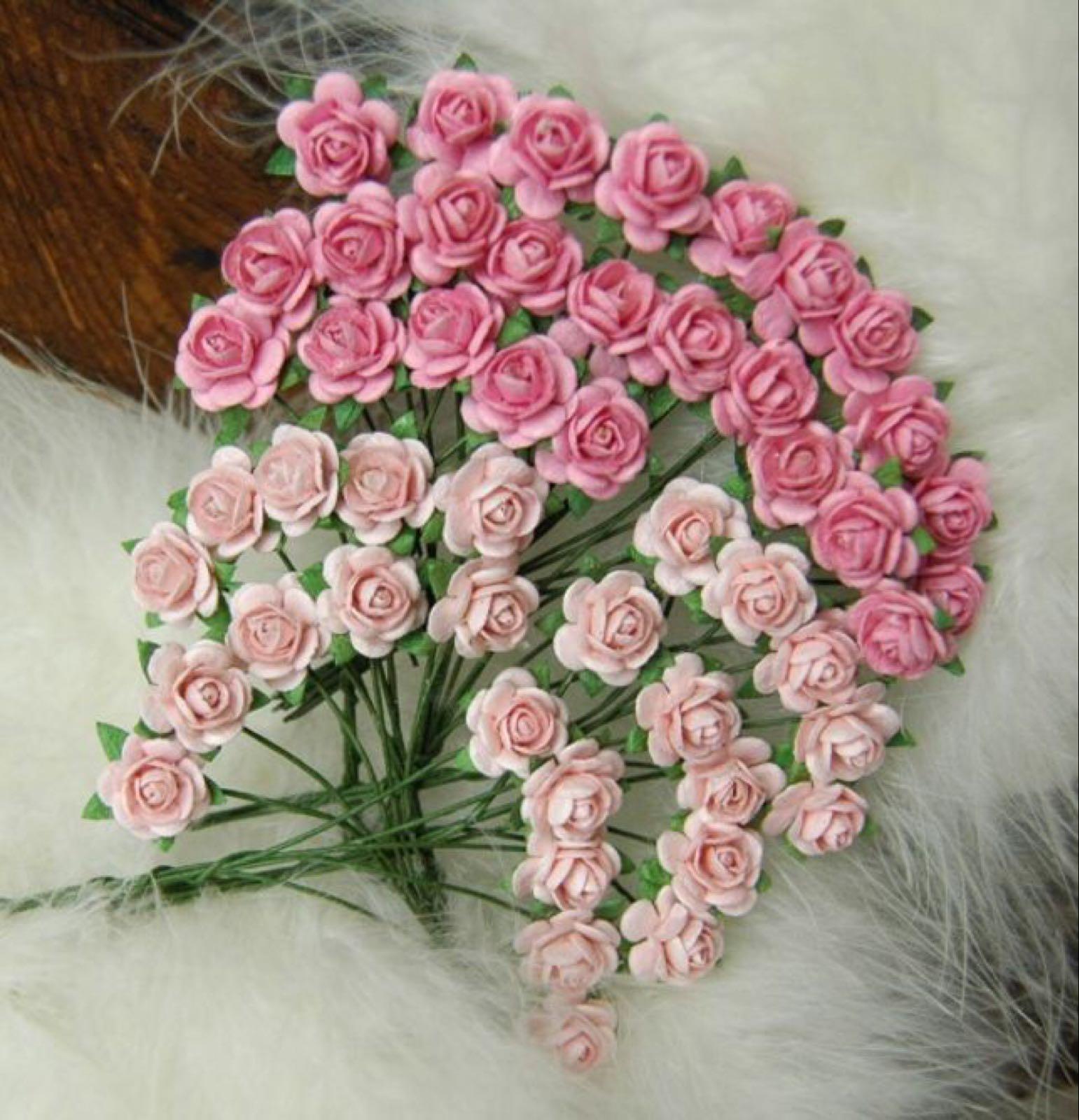 Papirdesign blomster, roser vintage babyrosa/ rosa , 1,2cm. 50 stk pr pk.