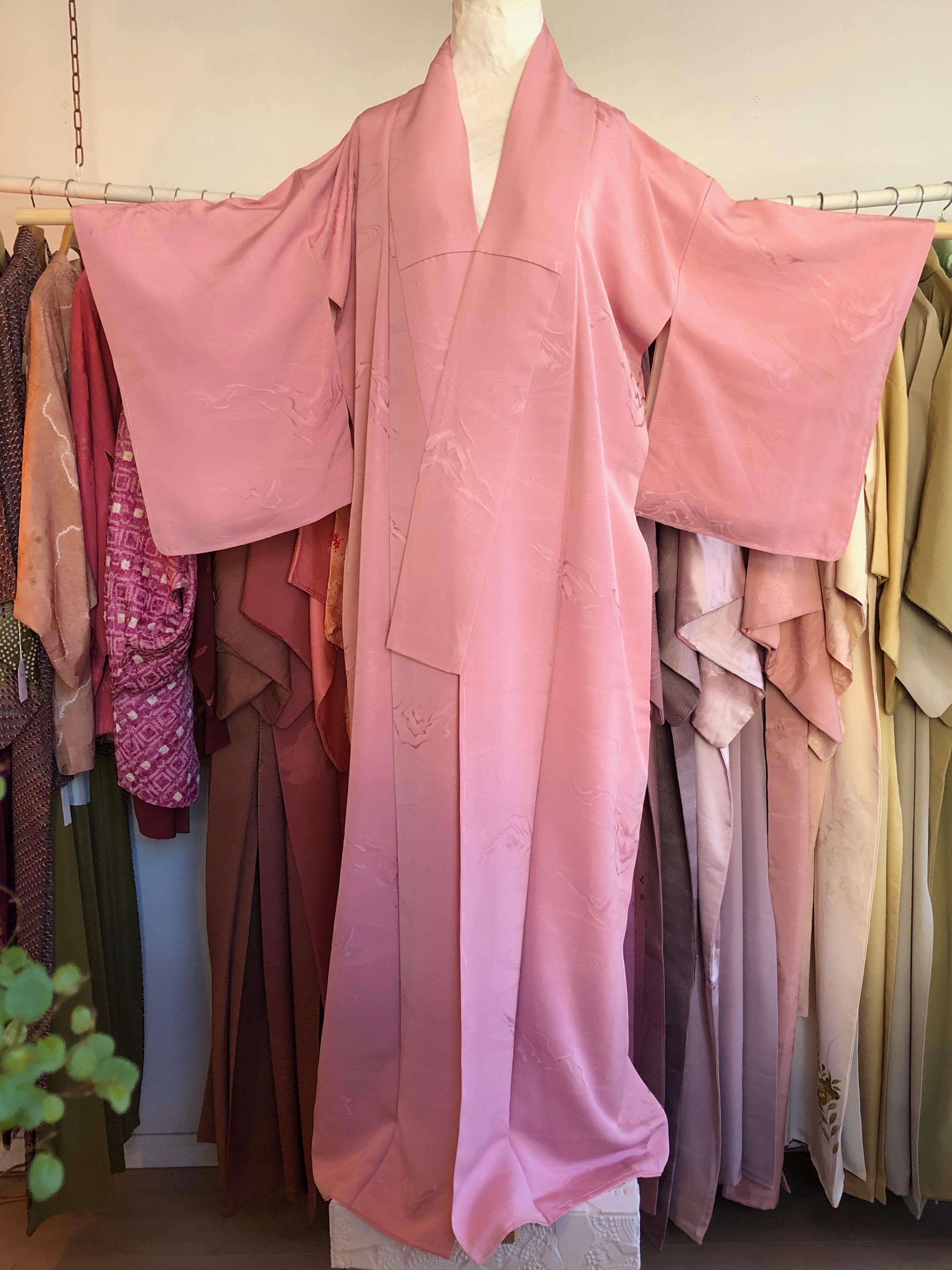 Vaaleanpunainen iromuji silkkikimono #1