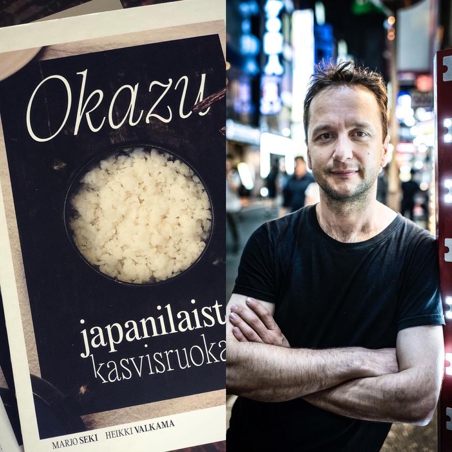 Okazu-kirja ja lippu Ruokamatka Japaniin -virtuaalitilaisuuteen