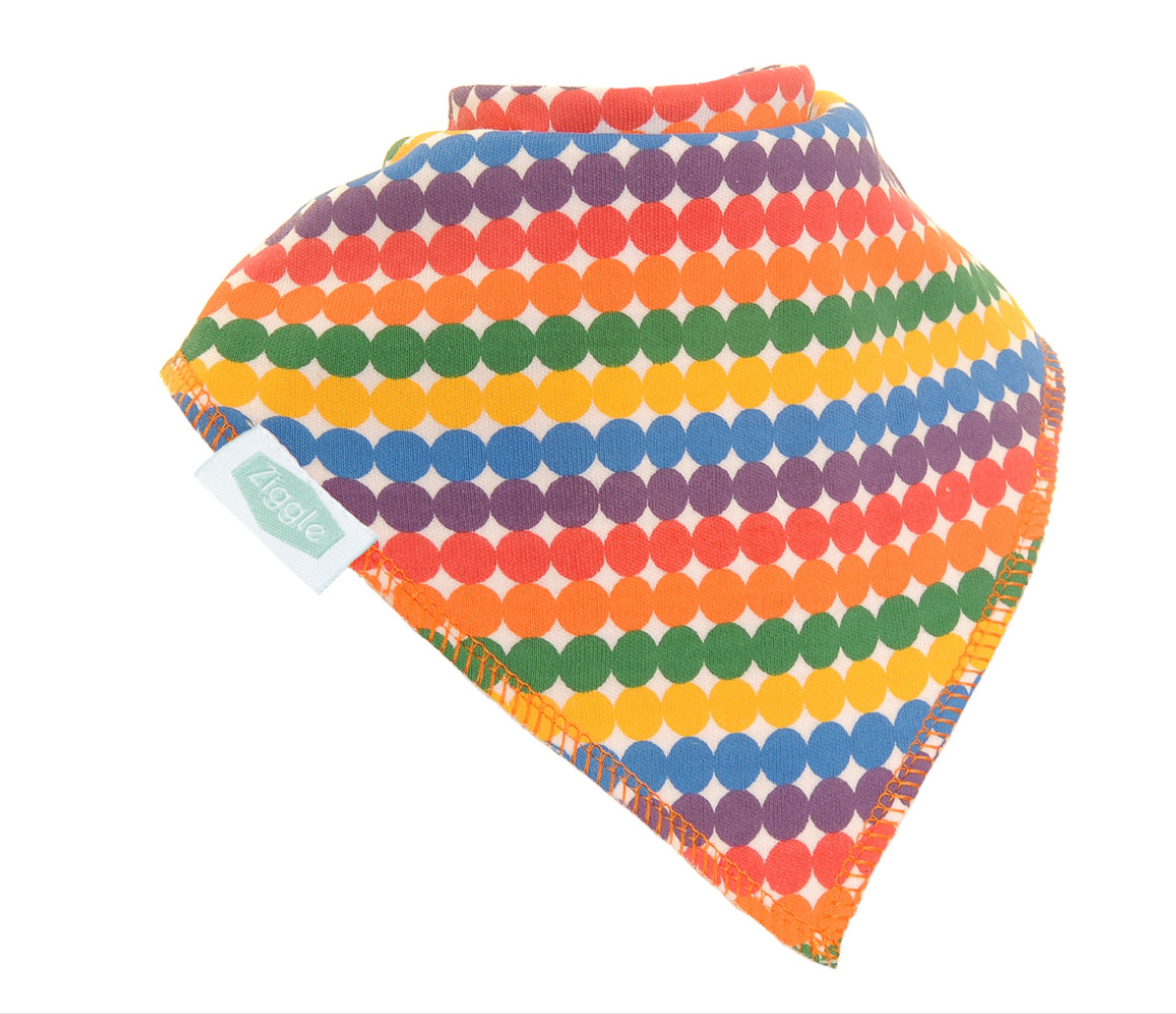 Ziggle rainbow dots bandana bib