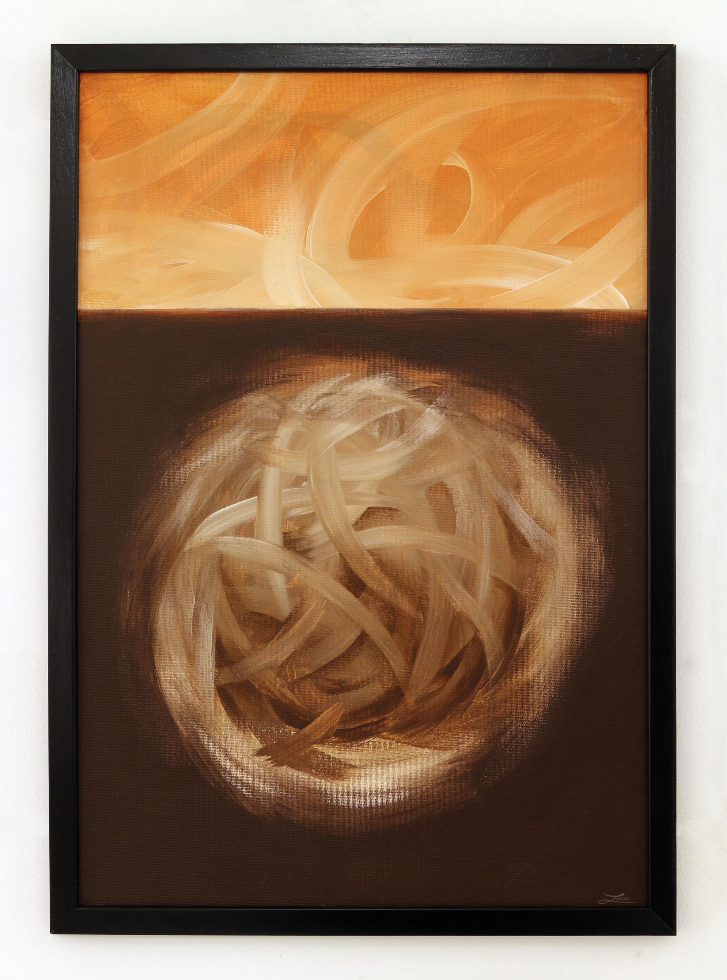 """""""ingen titel""""  akryl på duk av Jonas Brodin. 31x45 cm (Brun). AAF"""
