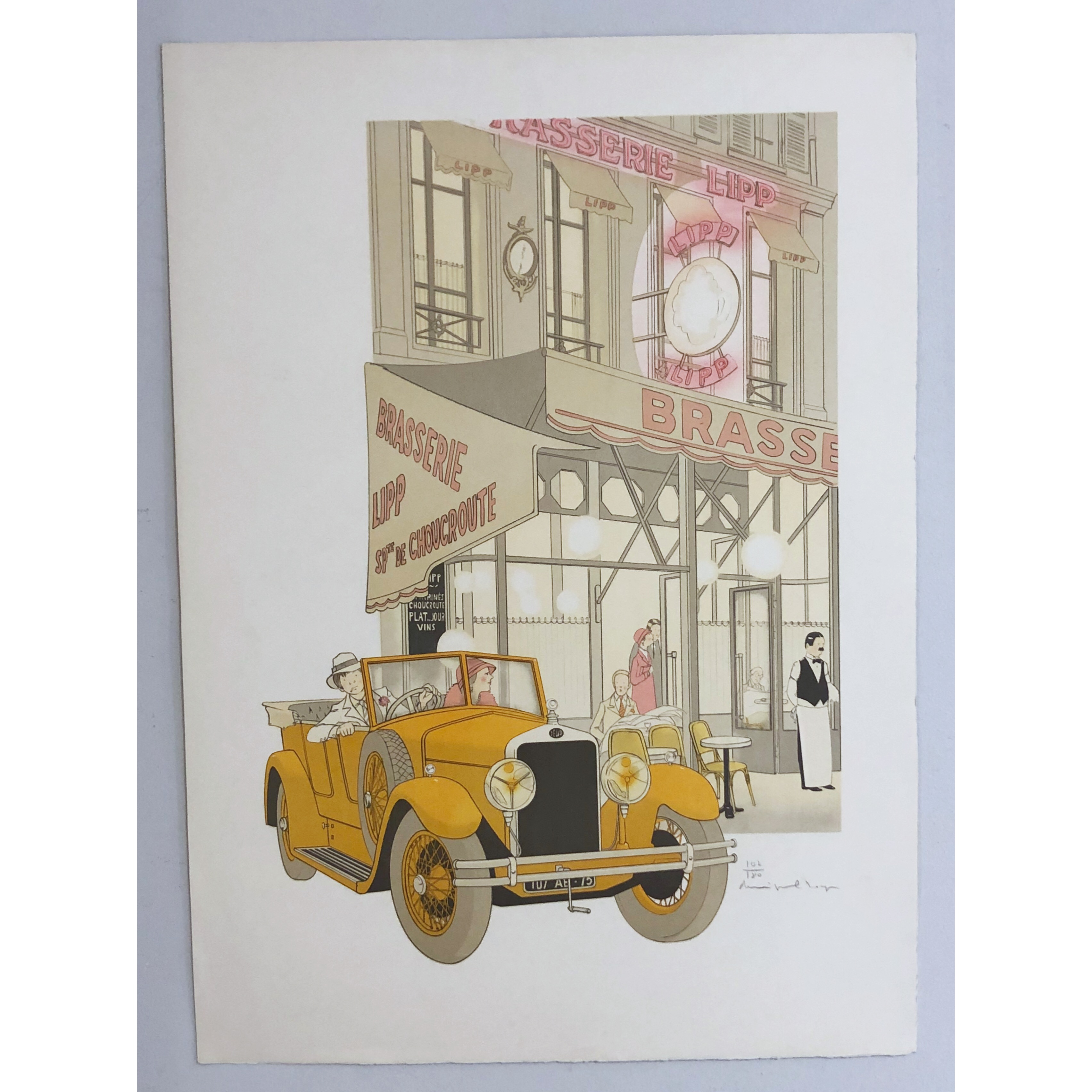 """Brasserie Lipp"" Lithograph by Philippe Henri Noyer. 63,5 x 90 cm"