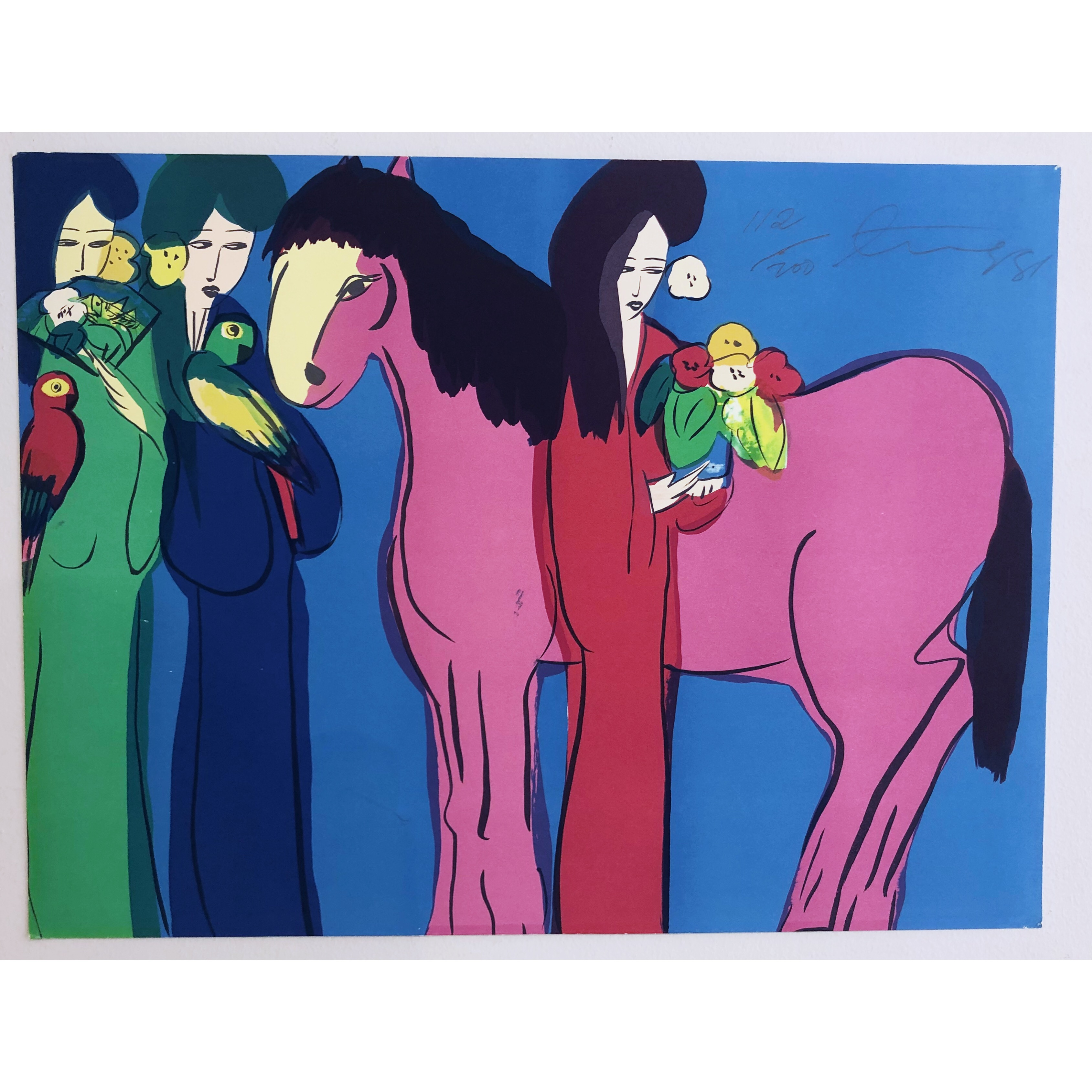 """Horse, Women and flowers"" Serigraph by Walasse Ting. 60 x 45 cm"