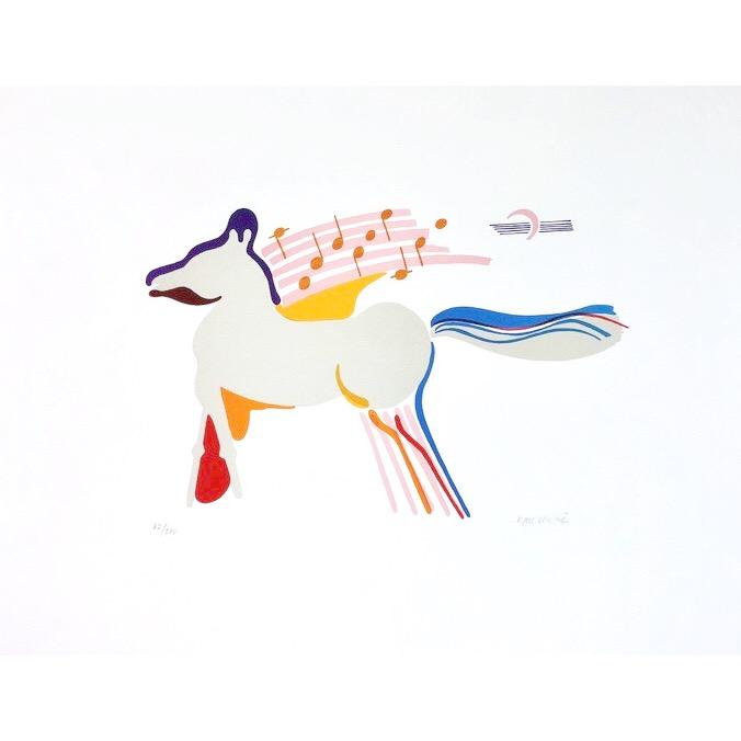 """Musikalisk häst"" Lithograph by Kjell Lönnå. 52 x 43 cm"