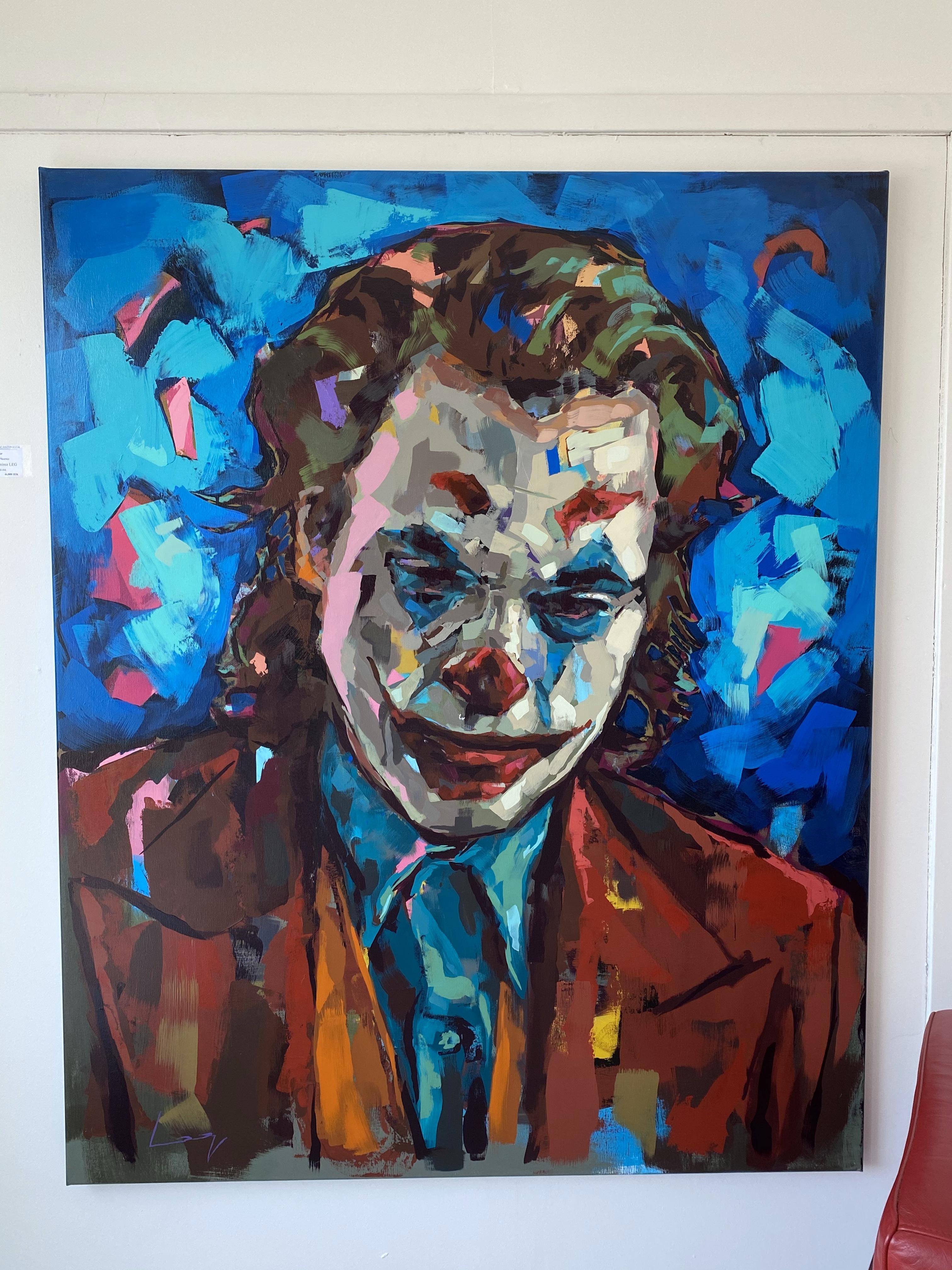 """The Joker / Joaquin Phoenix"" Akryl av Alberto Ramirez LEG. 160x130cm"