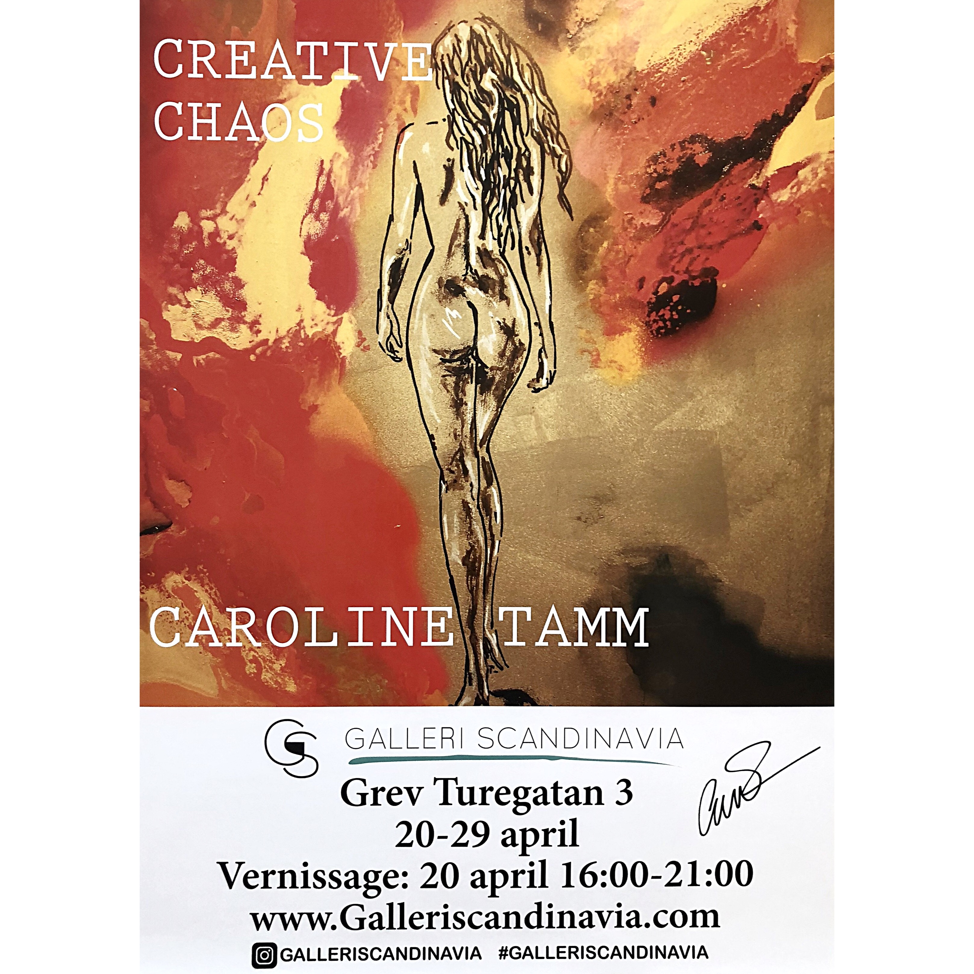 """Creative Chaos"" Signed exhibition-poster by Caroline Tamm. 50 x 70 cm"