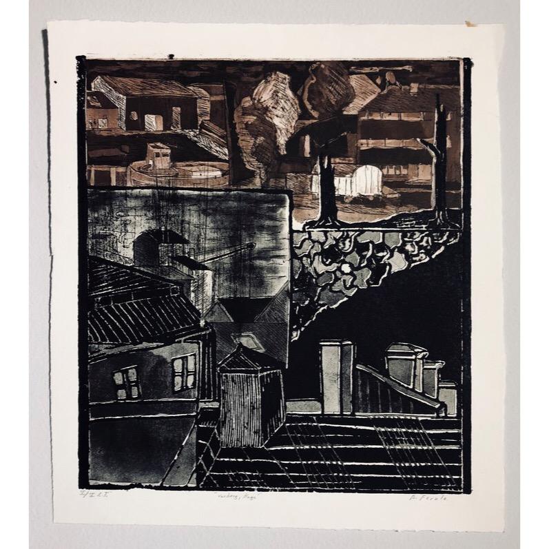 """""""Varberg, Haga"""" Etching by Björn Fernlo. 36 x 37,5 cm"""