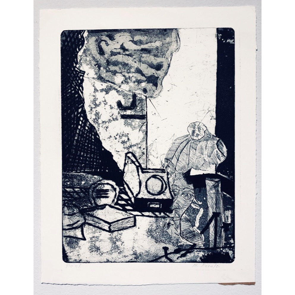 """""""No title"""" Etching by Björn Fernlo. 31 x 39,5 cm"""