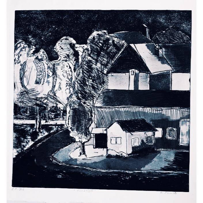 """Varberg IV"" Etching by Björn Fernlo. 45 x 46 cm"