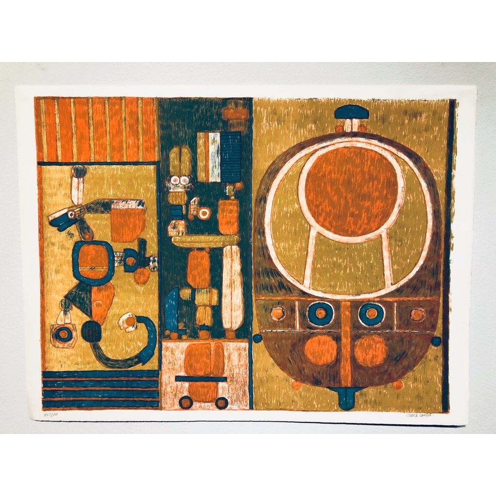 """""""No title"""" Lithograph by Pierre Courtin. 65 x 48,5 cm"""