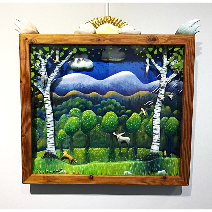 """Window to the forest"" Glass Cabinet by Stefan W. Igelström. 70 x 65 cm"