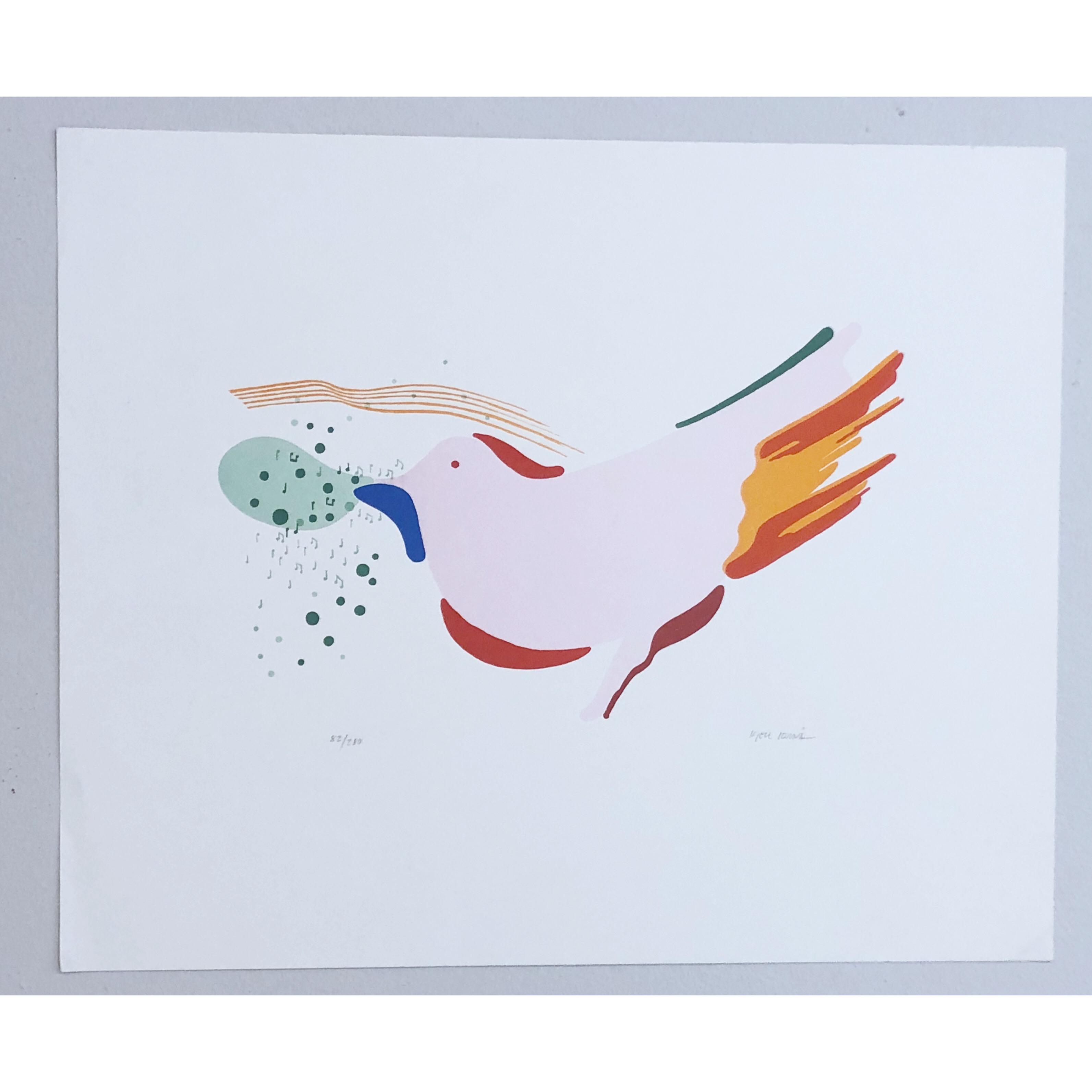 """""""Musical bird"""" Lithograph by Kjell Lönnå. 51,5 x 42,5 cm"""