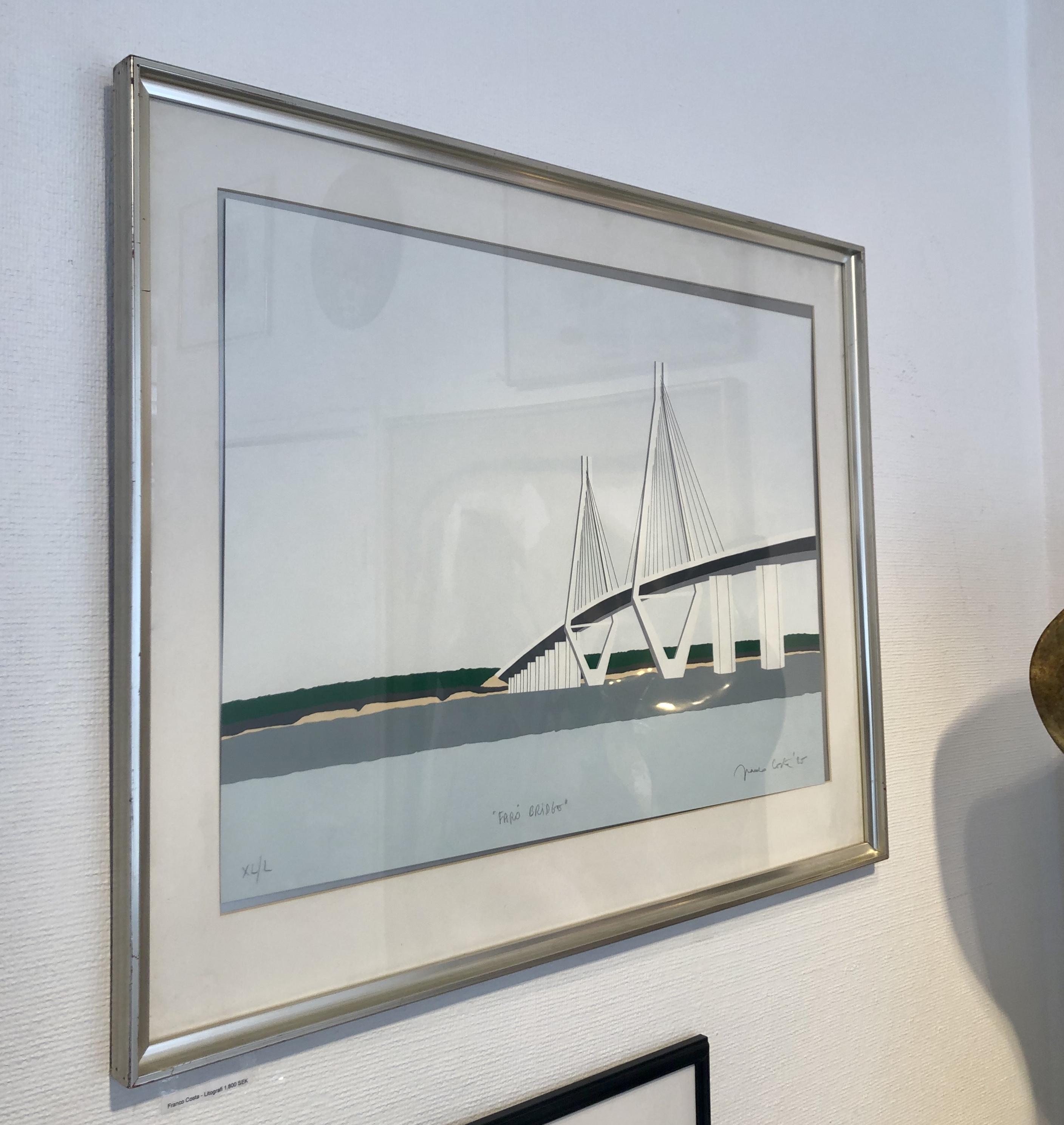 "Franco Costa - ""Färö bro"" Litografi 86x68 cm"