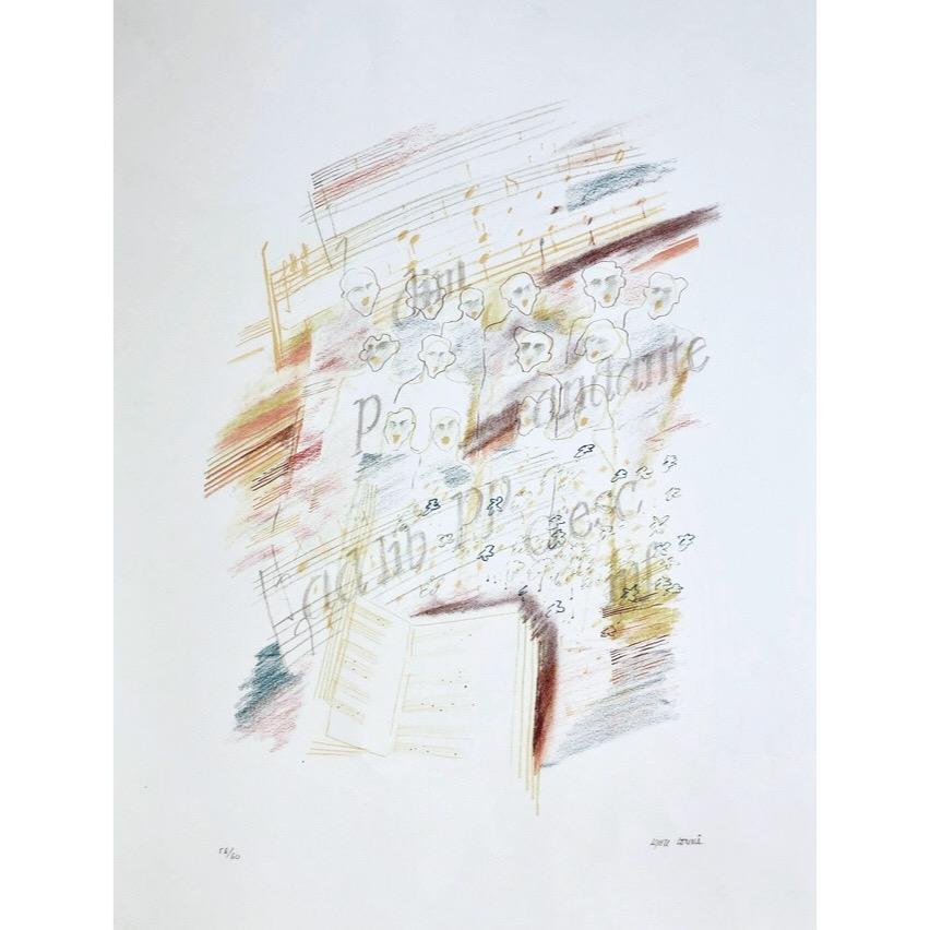 """""""Kören"""" Lithograph by Kjell Lönnå. 39,5 x 53 cm"""