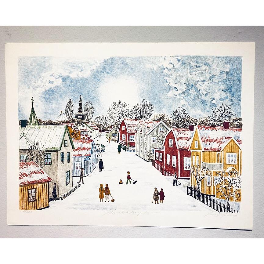 """Motiv från ett vintrigt Trosa"" Lithograph by Curt Sjöberg. 45,5 x 61 cm"