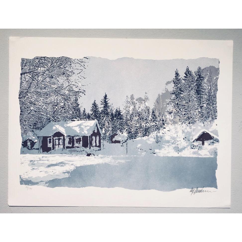 """Vinterlandskap"" Lithograph by Ulf Onsberg. 62,5 x 72,5 cm"