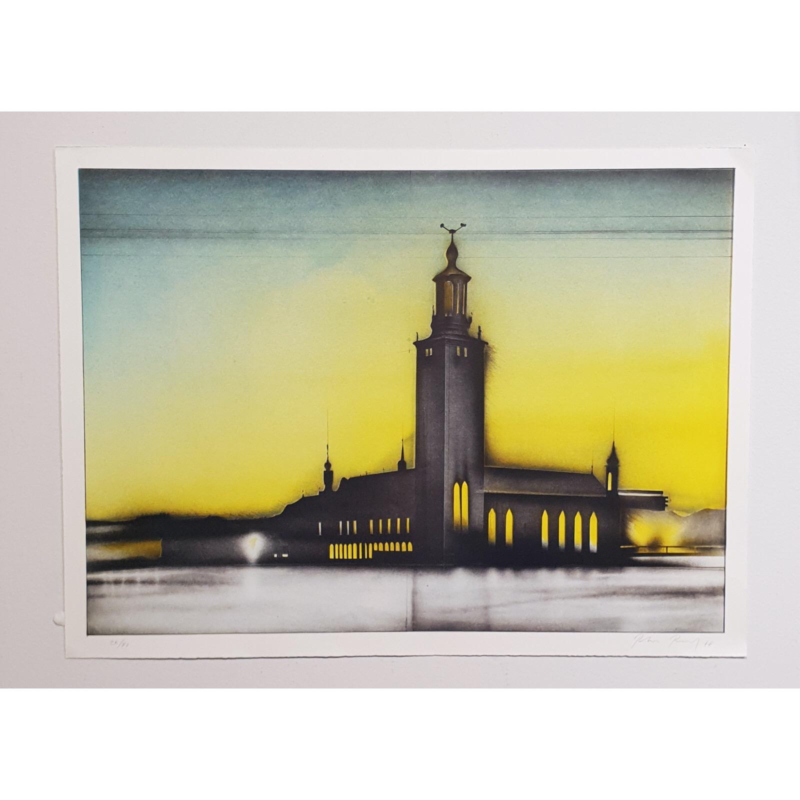 """Townhall im Französischen Schatten"" Lithograph by Peter Paul. 75x56 cm"