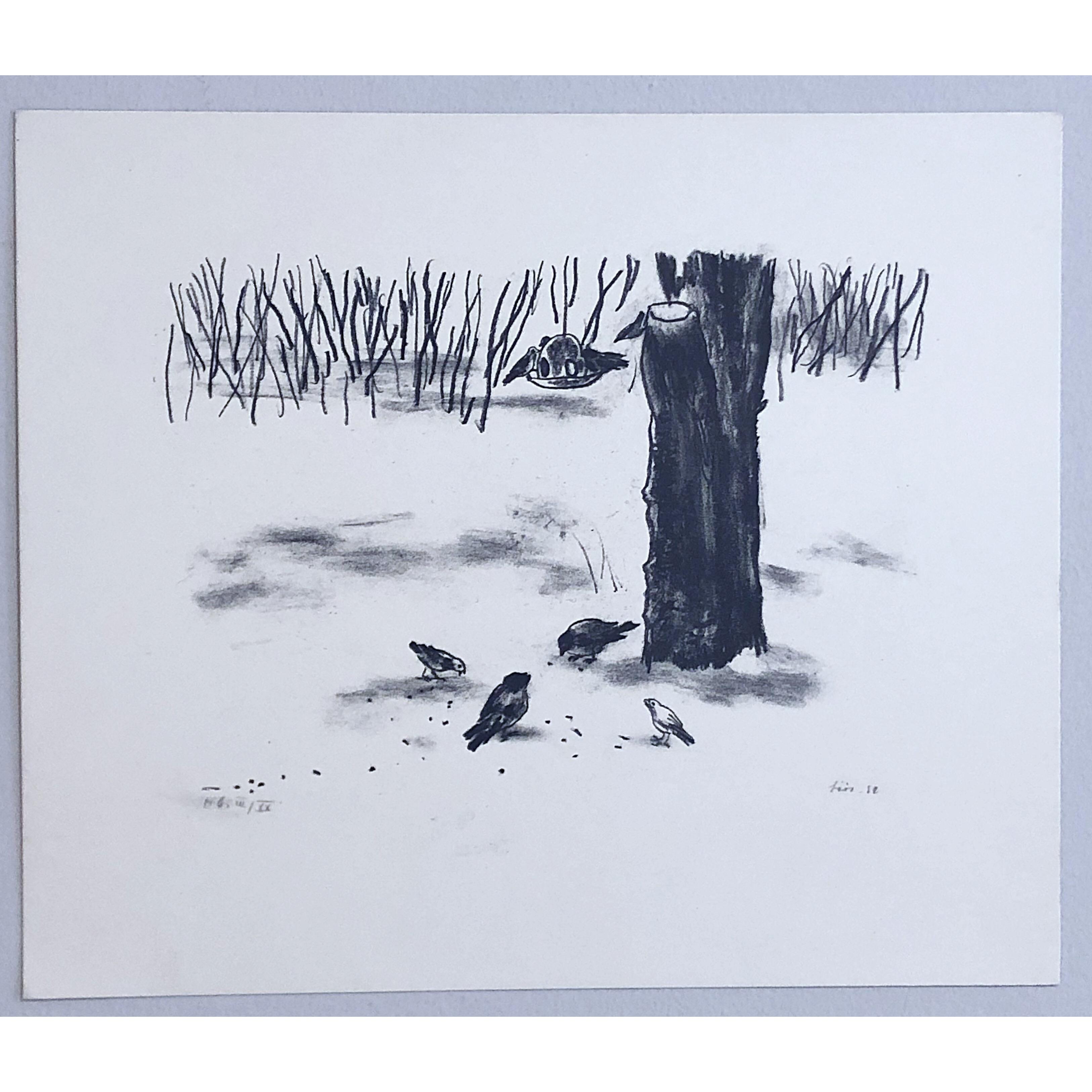 """""""No title"""" Lithograph by Evy Låås. 37 x 31 cm"""