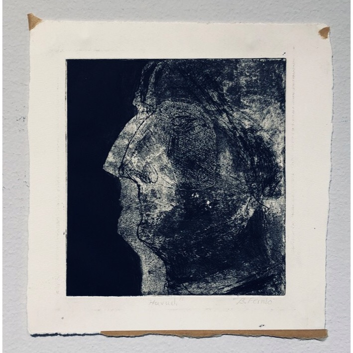 """Head"" Etching by Björn Fernlo. 21,5 x 23 cm"