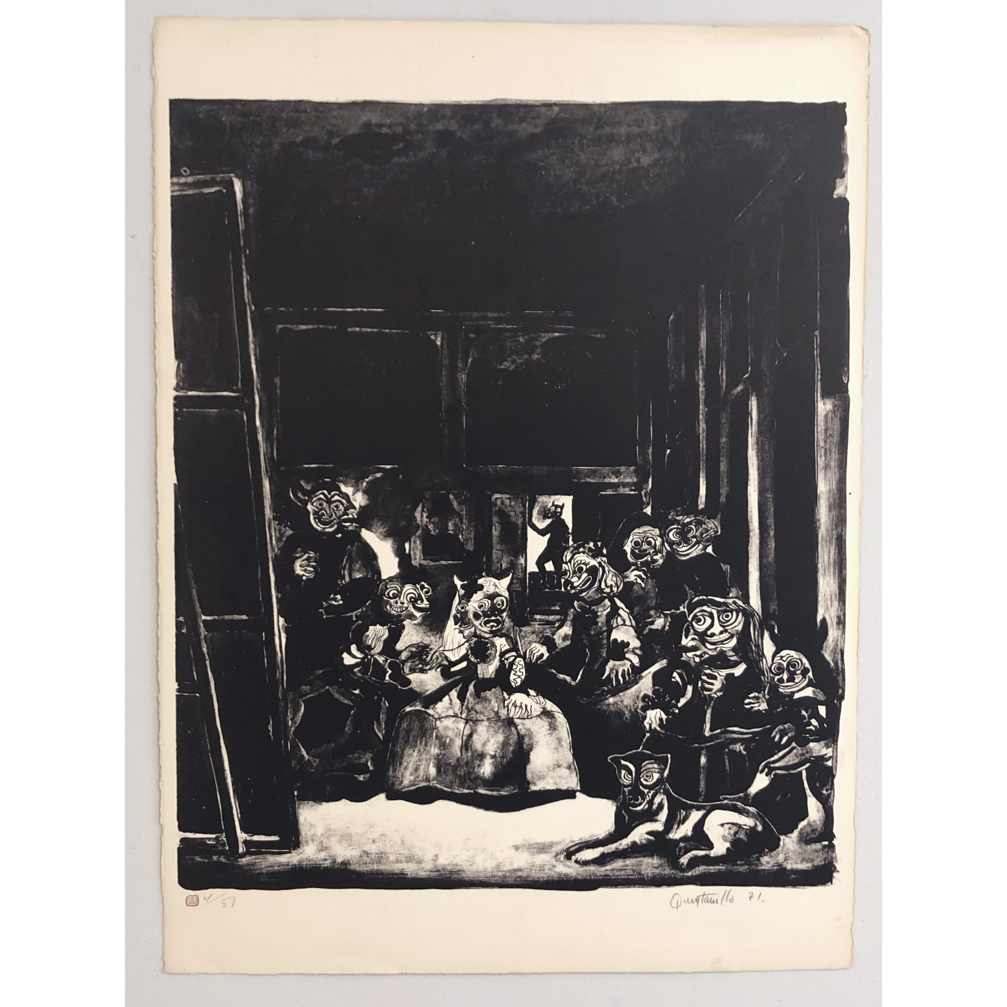 """""""No title"""" Lithograph by Alberto Quintanilla. 56 x 76,5"""