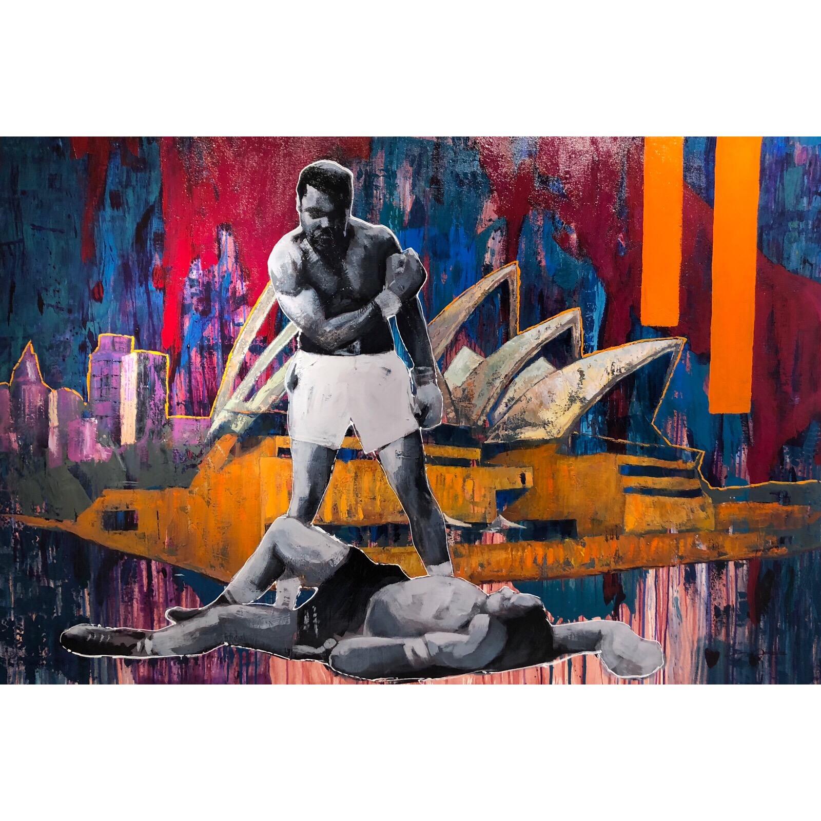 """Musical Knock-out"" Acrylic on canvas by Alberto Ramirez LEG & Jochen Vrba. 200x130 cm"
